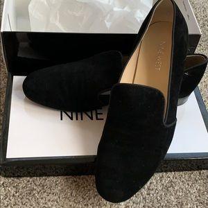 Black faux suede loafer